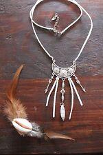 Lovely Handmade White Suede, Bead & White Howlite  Arrow Pendant Long Necklace