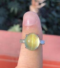 Wow Rare GIA Platinum Natural Chrysoberyl Cats Eye & Diamond Ring 10.50 ctw