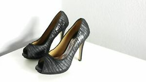 Badgley Mischka Star Black Silver Dress Shoes Size 6.5 M (#141)