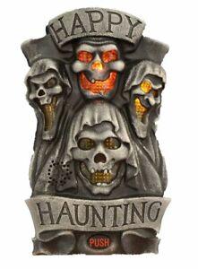Halloween Door Decoration - Happy Haunting - Spooky Lights Talking Door Greeter