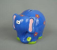 Blue childs childrens ceramic elephant money box with flower design
