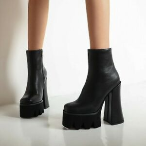 Platform Ankle Boots Women's Punk Block 15CM Very High Heels Motorcycle Shoes