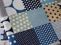 Ivory BLUE GREEN squares spots 100% COTTON poplin fabric material craft dress