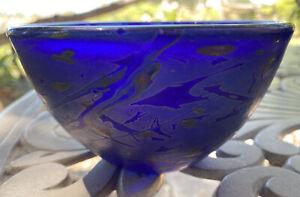 hand blown Cobalt Blue art glass bowl Signed Small Iridescent