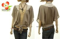 BOHO Victorian Batwing Ivory Lace Open Front Tie Knit Sweater Cardigan Top S M L