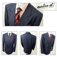 MENS VINTAGE 1980s ENRICO D ITALIAN DOUBLE BREASTED SUIT JACKET BLAZER BLUE 42L