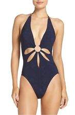 Robin Piccone Plunge One-Piece Swimsuit Indigo Blue Size 4 NEW Retail $178.00