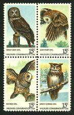 Owls se-tenant block of 4 mnh stamps 1978 USA #1760-3 Birds