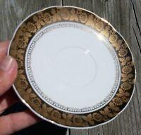 Antique Leart Saucer Gold Floral Rim
