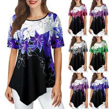 Womens Summer Floral Tunic T Shirt Casual Loose Short Sleeve O Neck Shirt Blouse