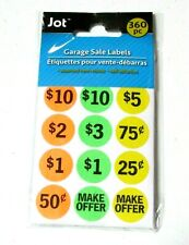 New Jot Garage Sale Labels Price Assorted Neon Colors Self Adhesive Labels 360pc