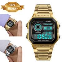 SKMEI Men Sport Waterproof Stainless Steel Chrono LED Digital Quartz Wrist Watch
