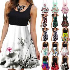 Women Floral Sleeveless Mini Sundress Summer Casual Evening Party Tank Dress HOT