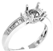 Diamond Engagement Ring VS1 Semi Mount 0.67ct Baguette 18k White Gold