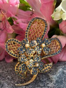 Vintage Vendome Signed Basketweave Floral Sapphire Flower Rhinestone Brooch Pin
