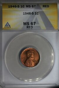 1946-S  .01  ANACS  MS 67 RED  Lincoln Head Cent, Lincoln One Cent