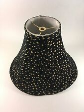 SALE Pair of Black Lamp Shades, Upholstery Fabric Embroidered Black Tan 4x11x9