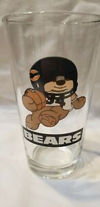 Set 4 USA made Vintage NFL NEW CLASSIC 80'S CHICAGO BEARS MASCOT Pint glasses