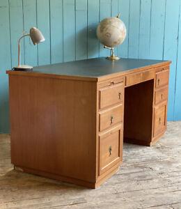 Teak RETRO MID CENTURY Desk Home Office Drawers Oriental Handles DELIVERY*🚚