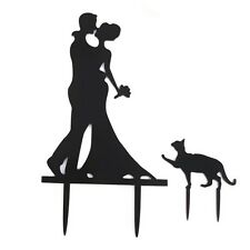 Wedding Cake Topper Cake Decorations Engagement Bride & Groom with Cat Acry C5X5