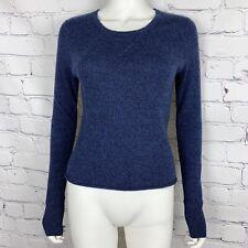 Athleta Women's Long Sleeve Sweater Small Blue Crop 100% Cashmere Crewneck