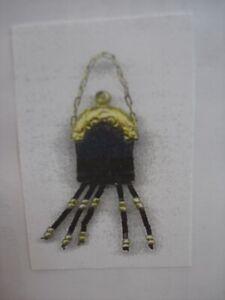 Dollhouse Miniatures Metallic Blue Leather Purse Kit With Strap, Beaded Fringe