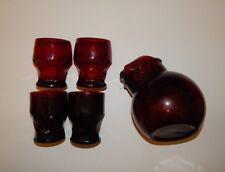 Vintage Depression Glass Ruby Red Tilting Pitcher 4 Glasses Anchor Hocking R1674