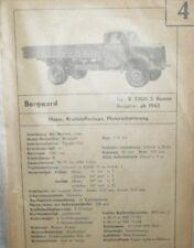 * Borgward B 3000 S Benzin ab 1942   Datenblatt Typenblatt + Wartung original