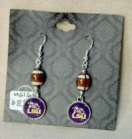 LSU Tigers, Small, Round Earrings with a Football Bead.
