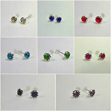 Crystal Stud Earrings Silver 6mm Womens Ladies Jewellery