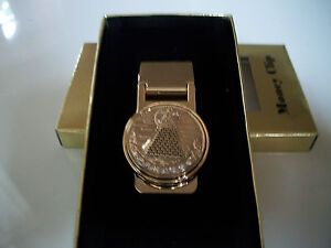 New Men's Gold Finish Pyramid  Money Clip Mens Wallet Round  With Box
