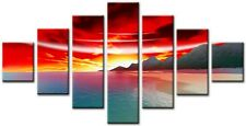 7 Panel Total Size 160x90cm Large Digital Print Canvas Wall Art WICK Red