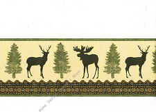 Deer Moose Pine Tree Silhouette Rustic Cabin Lodge Green Cream Wallpaper Border