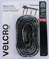 VELCRO Brand 25mm x 1m Black Heavy Duty Stick On Tape 25556
