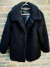 GEORGE LADIES BLACK SHEEP WOOL LOOK FAUX FUR COAT SIZE 14