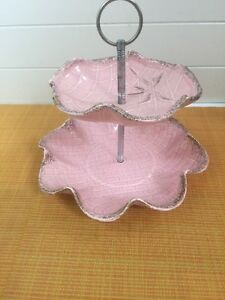 Vtg 1950's CALIFORNIA POTTERY PINK TWO TIERED PLATE TRAY SCALLOPED 275
