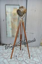 NAUTICAL DESIGNER TRIPOD FLOOR LAMP SEARCHLIGHT WITH WOOD TRIPOD STAND