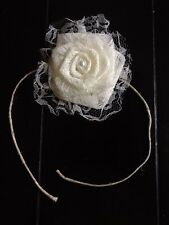 Lace Flower With Burlap Back  Ivory Sash Chair Pew Ties Wedding Outdoor Tieback
