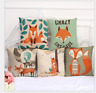 18'Fashion Cute Fox Print Cotton Linen Pillow Case Sofa Cushion Cover Home Decor