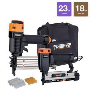 Freeman Pneumatic Brad Nailer Micro Pinner with Nails DIY Wood Worker Tool Kit