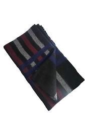 Boss Hugo Boss Men's Black Burgundy Blue Wool Check Scarf Winter Warm Scarf