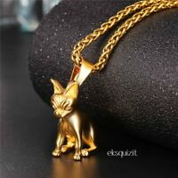 24k GOLD PLATED CHIHUAHUA PENDANT NECKLACE - DOG CHARM WITH CHAIN - UNISEX
