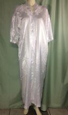 Vintage California Dynasty Robe Satin White Button Close Tie WaistSize Medium
