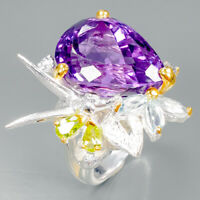 Top color 18ct+ Natural Amethyst 925 Sterling Silver Ring Size 7.75/R89398