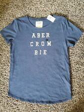 NWT Abercrombie & Fitch Women's Embroidered T-Shirt BLUE Size L