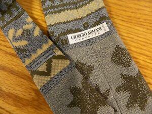 GIORGIO Armani Men's Tie 100% Silk Made Italy Blue Gray Tan 4 x 56  NWOT S-#77