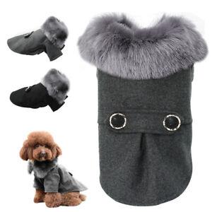 Elegant Dog Coat Woolen Fur Collar Puppy Pet Clothes Winter Warm Jacket S-XXL