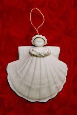 "Margaret Furlong 1983 Shell Angel holding Holly Christmas Ornament 3"" Euc"