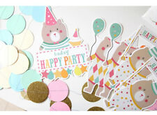 *New* Party Paper Bunting Banner Flags Party Decoration Bear Birthday Theme