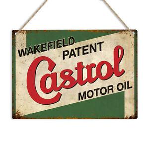 CASTROL MOTOR OIL Retro Vintage Metal Tin Wall Sign Plaque Garage Man Cave Car